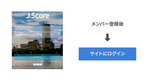 メンバー登録後、J.Score(ジェイスコア)のサイトにログインする